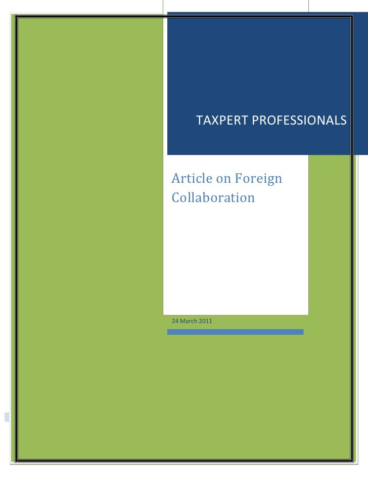 TAXPERT PROFESSIONALS                                                Article on Foreign                                   ...