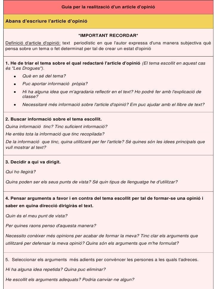 Guia per la realització dun article dopinióAbans descriure larticle dopinió                                       *IMPORTA...