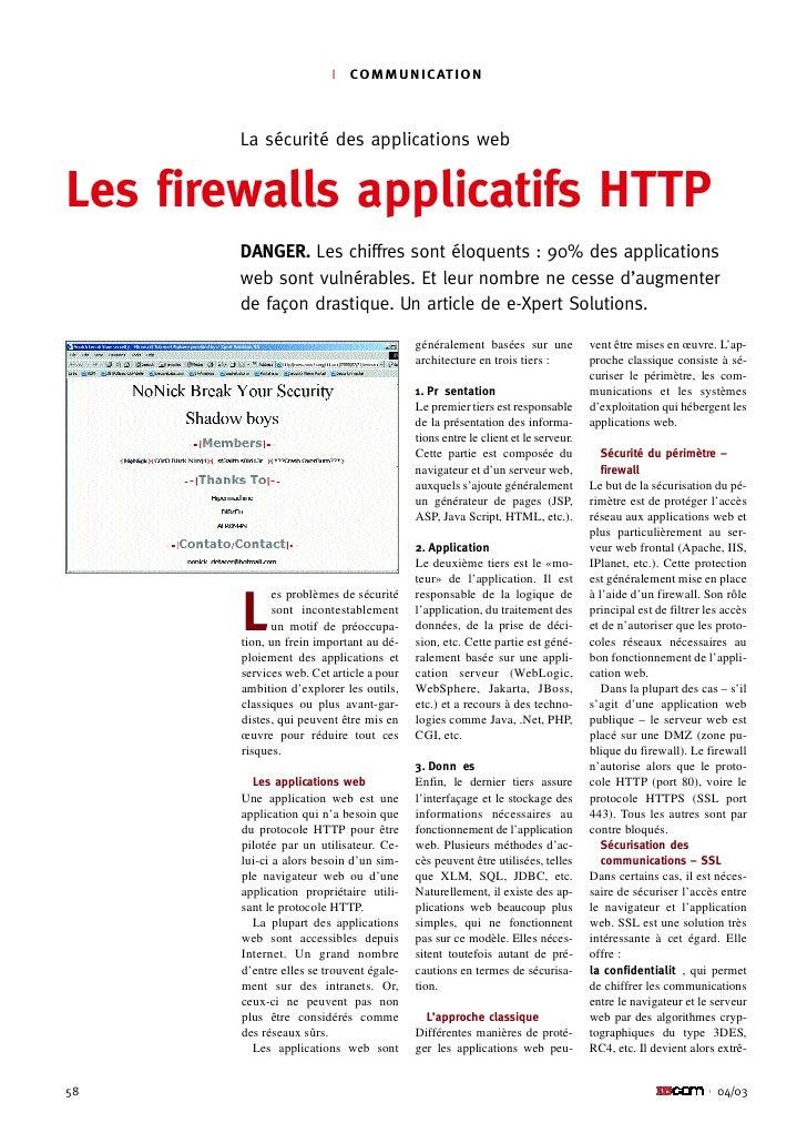 l   C O M M U N I C AT I O N            La sécurité des applications web   Les firewalls applicatifs HTTP         DANGER. ...