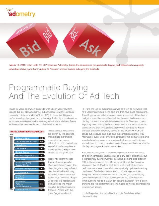 March 12, 2013. John Dietz, VP of Products at Adometry, traces the evolution of programmatic buying and describes how quic...