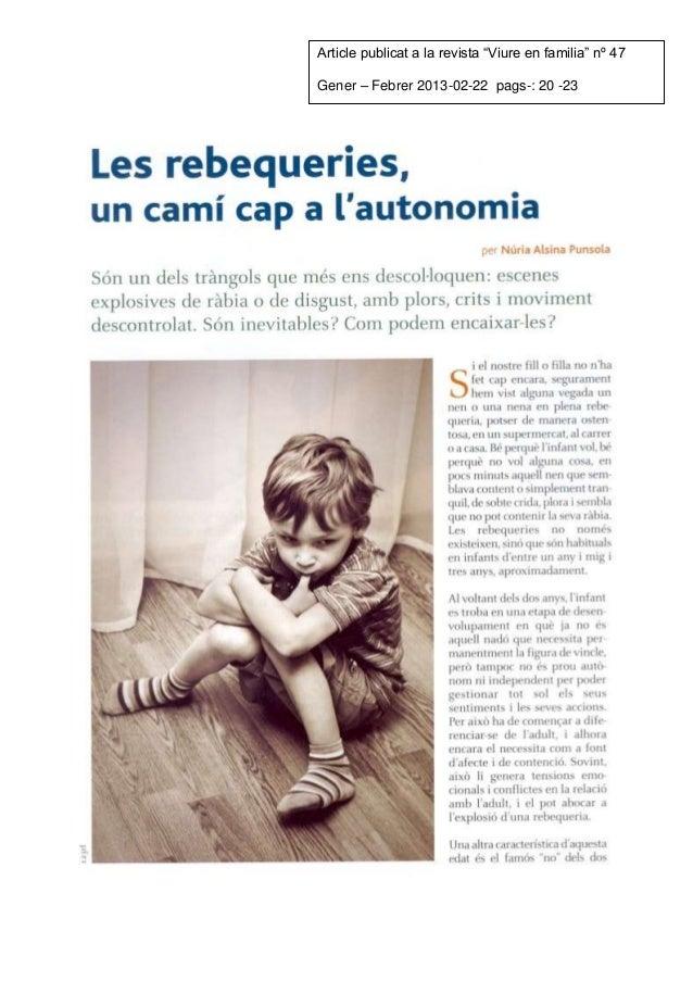 """Article publicat a la revista """"Viure en familia"""" nº 47Gener – Febrer 2013-02-22 pags-: 20 -23"""