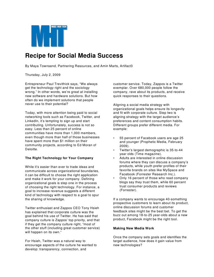 Recipe for Social Media Success By Maya Townsend, Partnering Resources, and Amin Marts, Artifact3  Thursday, July 2, 2009 ...