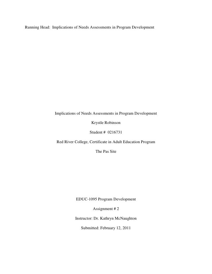 Running Head: Implications of Needs Assessments in Program Development                Implications of Needs Assessments in...
