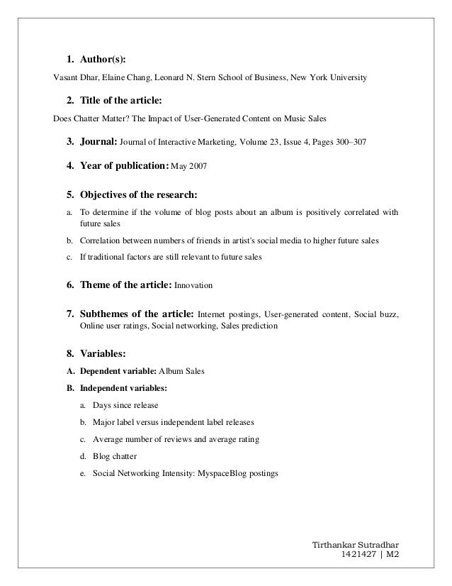 Tirthankar Sutradhar 1421427 | M2 1. Author(s): Vasant Dhar, Elaine Chang, Leonard N. Stern School of Business, New York U...
