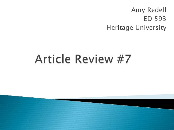 Amy Redell           ED 593Heritage University