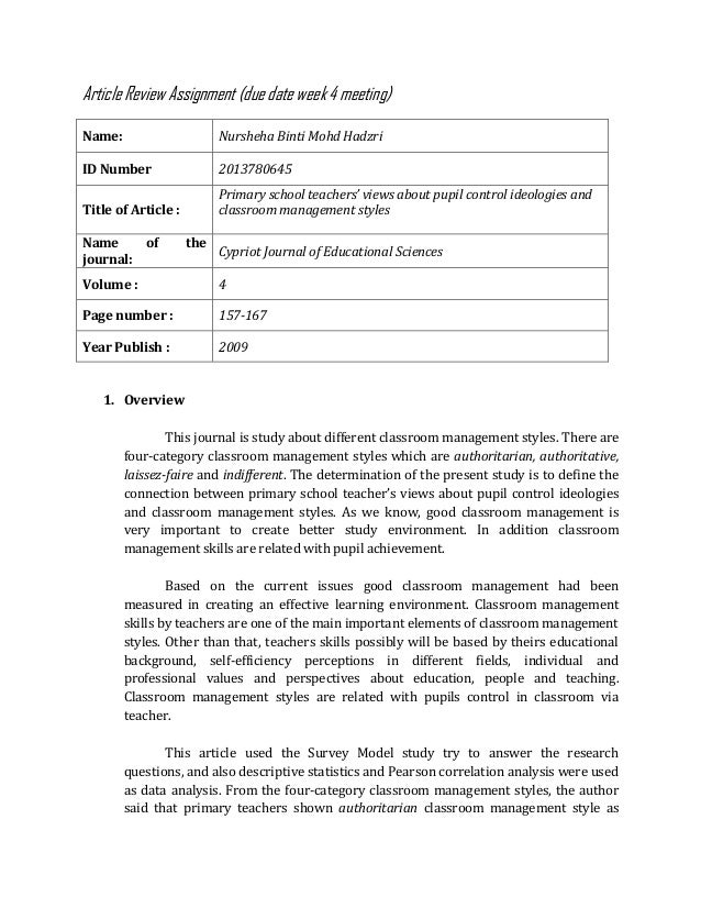 Article Review Assignment (due date week 4 meeting) Name: Nursheha Binti Mohd Hadzri ID Number 2013780645 Title of Article...