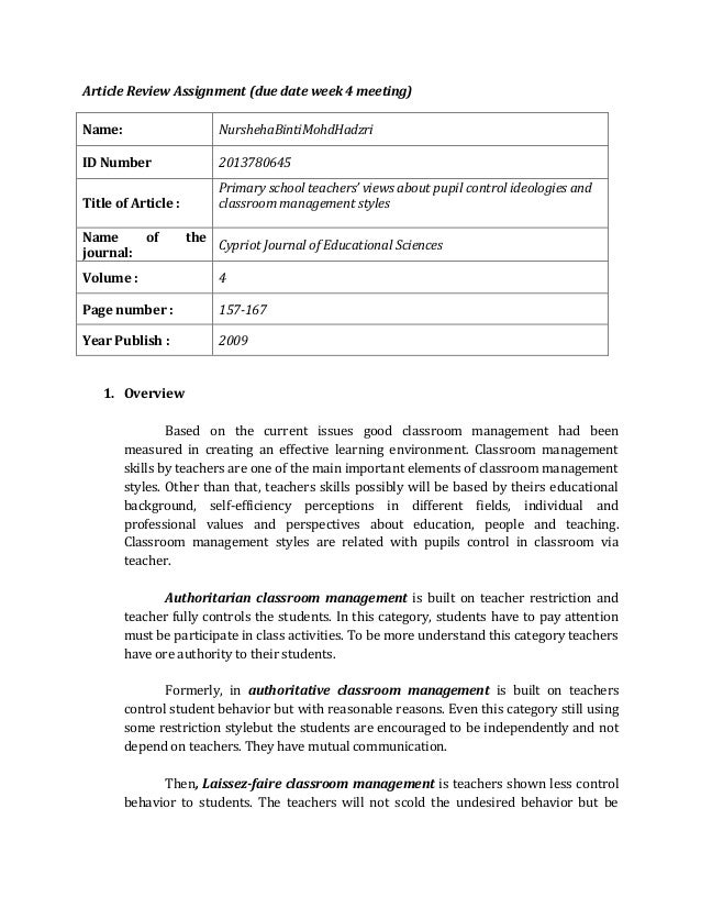 Article Review Assignment (due date week 4 meeting) Name: NurshehaBintiMohdHadzri ID Number 2013780645 Title of Article : ...