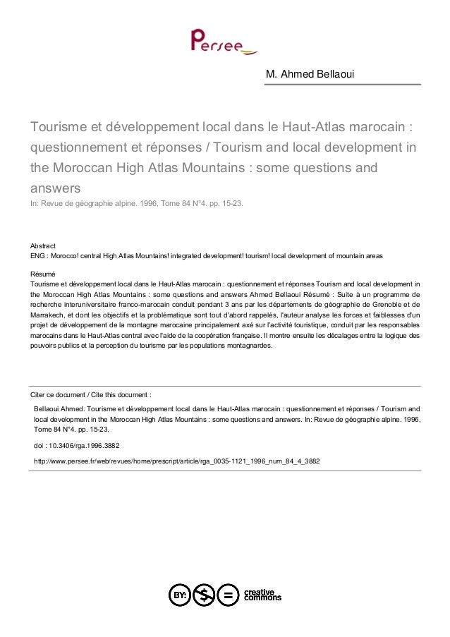 M. Ahmed Bellaoui  Tourisme et développement local dans le Haut-Atlas marocain : questionnement et réponses / Tourism and ...