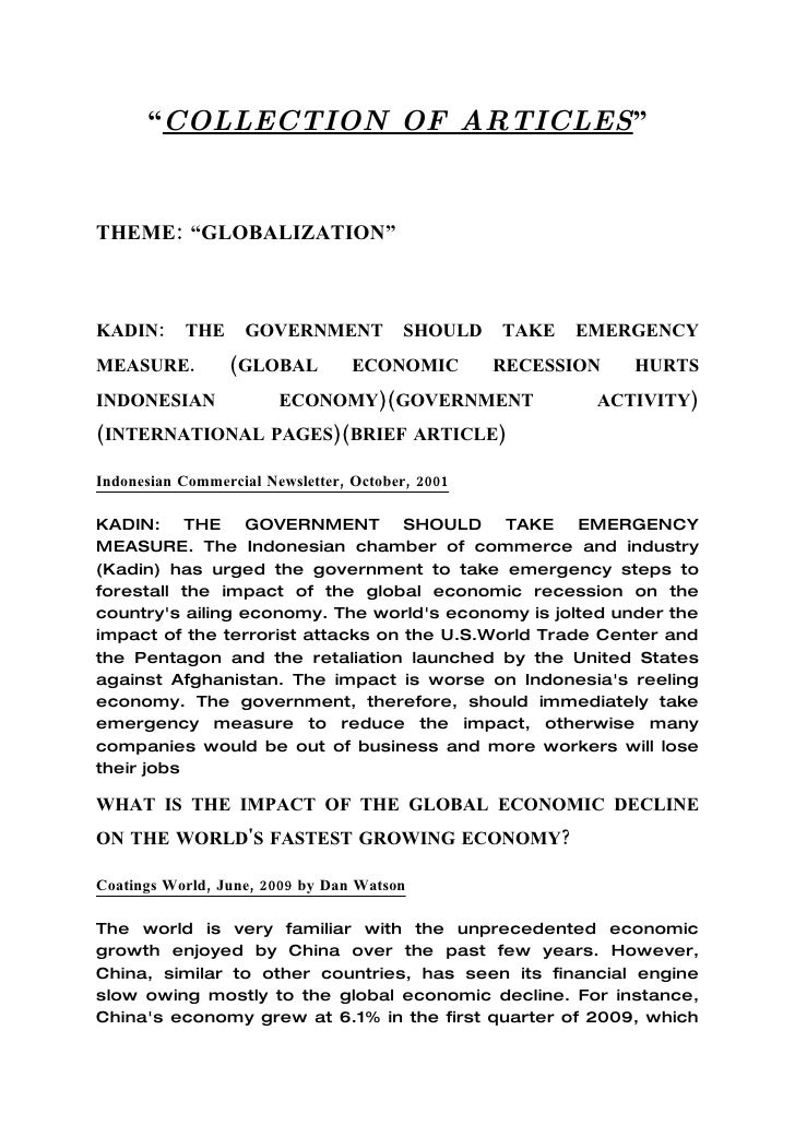 """""""COLLECTION OF ARTICLES""""   THEME: """"GLOBALIZATION""""    KADIN:     THE     GOVERNMENT           SHOULD    TAKE   EMERGENCY ME..."""