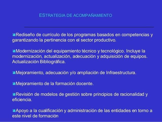 Diseño e implementación de un sistema de evaluación para el mejoramiento de los CERES Ampliación de la oferta de program...