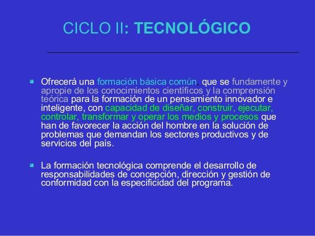 CICLO III: PROFESIONAL Complementará el segundo ciclo, en la respectiva área del conocimiento, de forma coherente, con la ...