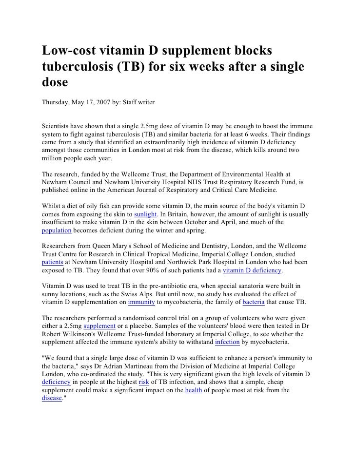 Low-cost vitamin D supplement blockstuberculosis (TB) for six weeks after a singledoseThursday, May 17, 2007 by: Staff wri...