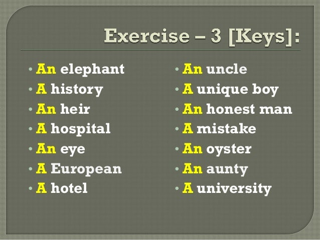 • An elephant• A history• An heir• A hospital• An eye• A European• A hotel• An uncle• A unique boy• An honest man• A mista...