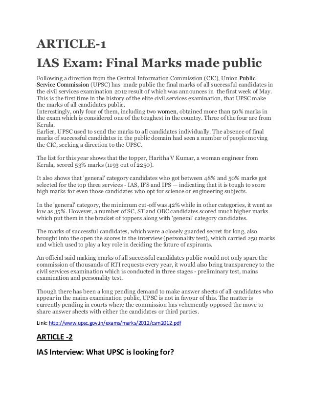 ARTICLE-1 IAS Exam: Final Marks made public Following a direction from the Central Information Commission (CIC), Union Pub...