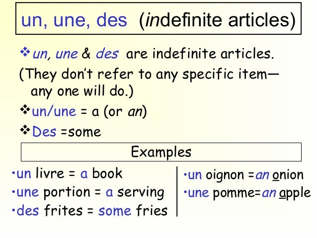 French Indefinite Articles - dummies
