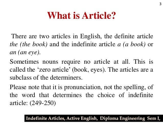 what is an article in english