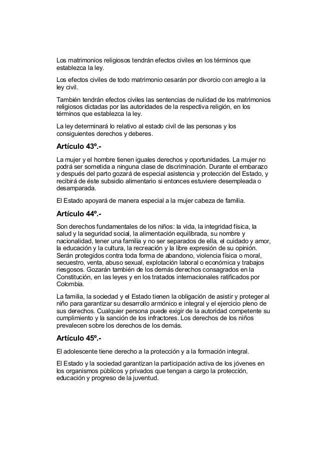 El Matrimonio Catolico Tiene Efectos Civiles : Constitución política de colombia