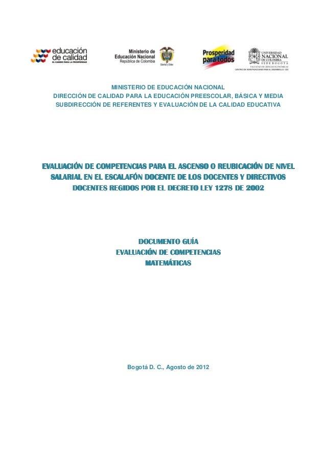 MINISTERIO DE EDUCACIÓN NACIONAL DIRECCIÓN DE CALIDAD PARA LA EDUCACIÓN PREESCOLAR, BÁSICA Y MEDIA SUBDIRECCIÓN DE REFEREN...