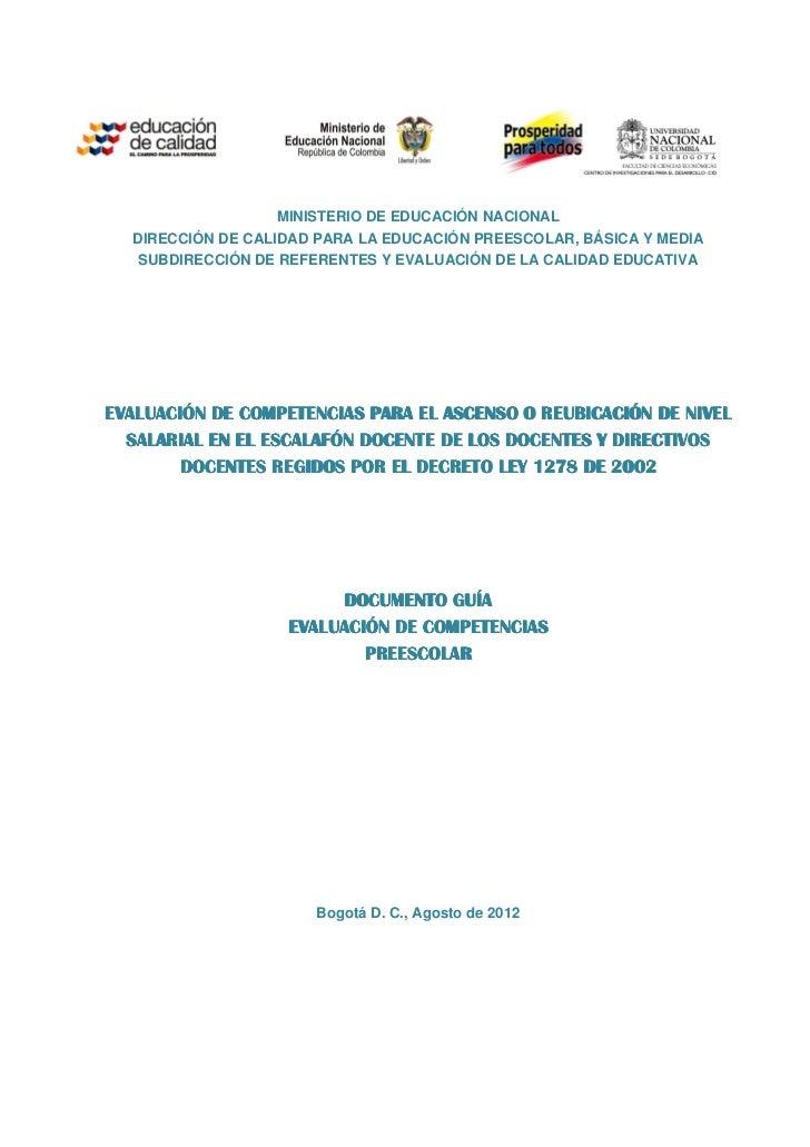 MINISTERIO DE EDUCACIÓN NACIONAL  DIRECCIÓN DE CALIDAD PARA LA EDUCACIÓN PREESCOLAR, BÁSICA Y MEDIA   SUBDIRECCIÓN DE REFE...