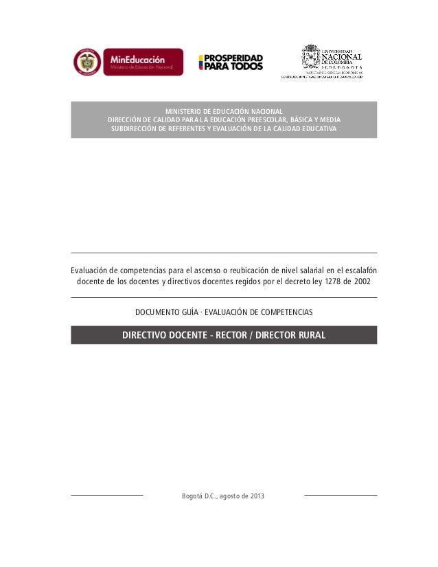 Evaluación de competencias para el ascenso o reubicación de nivel salarial en el escalafón docente de los docentes y direc...