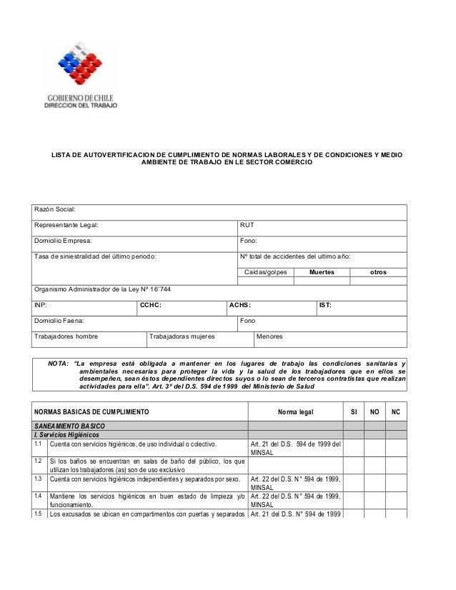 LISTA DE AUTOVERTIFICACION DE CUMPLIMIENTO DE NORMAS LABORALES Y DE CONDICIONES Y MEDIO AMBIENTE DE TRABAJO EN LE SECTOR C...