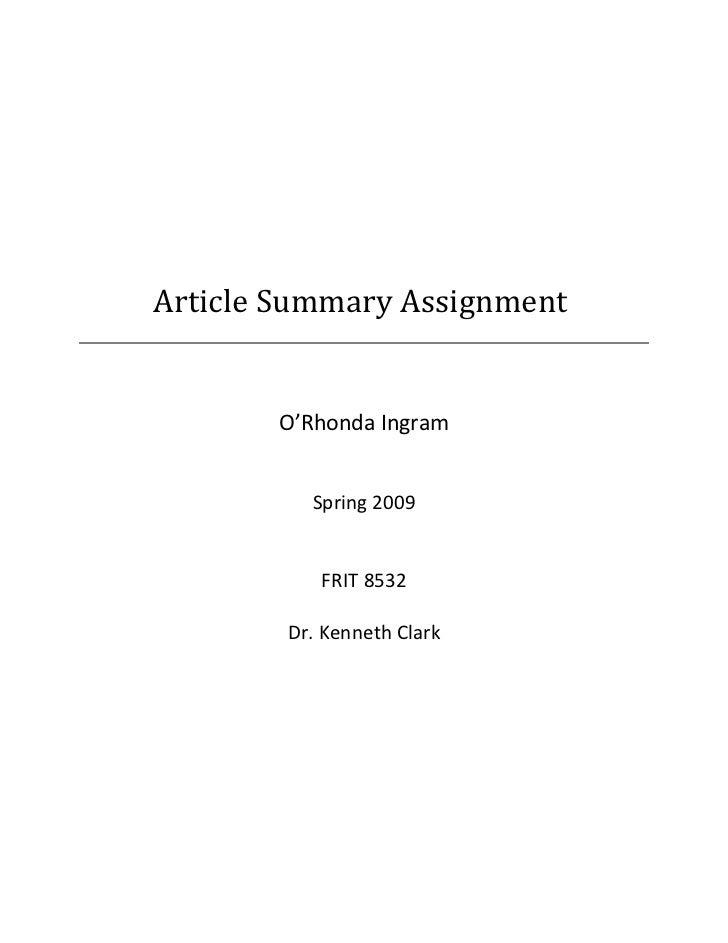 Article Summary Assignment       O'Rhonda Ingram          Spring 2009           FRIT 8532        Dr. Kenneth Clark