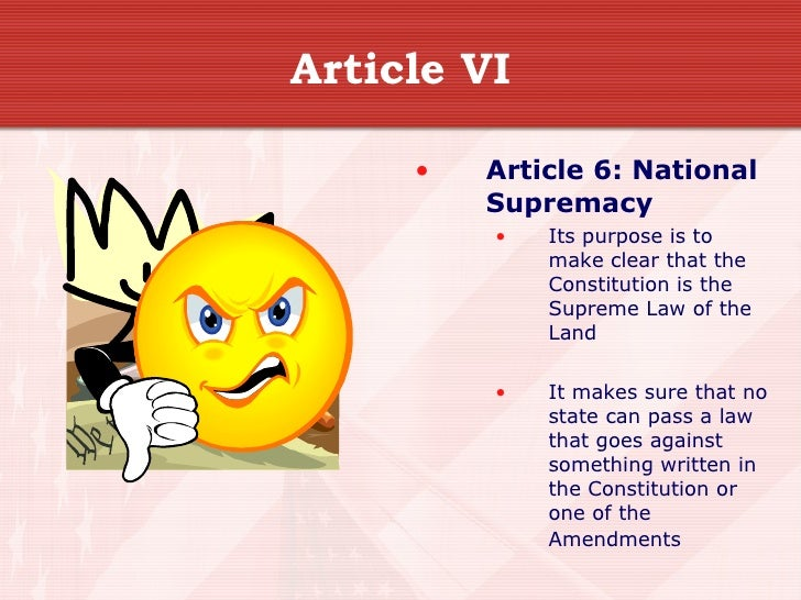 subject involving piece of writing 6 with this constitution