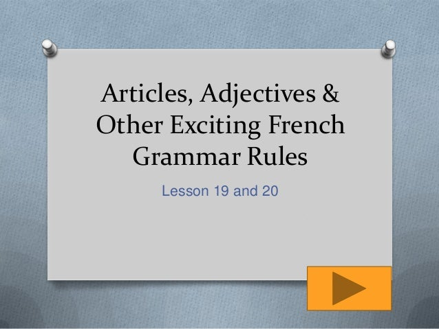 article just before adjective grammar