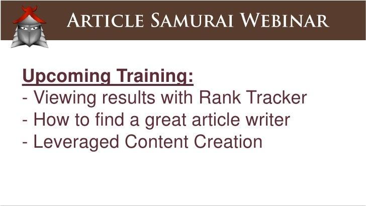 Training<br />- Quickstarthttp://articlesamurai.com/c/quickstart- Shortcutshttp://articlesamurai.com/c/shortcuts- First ...