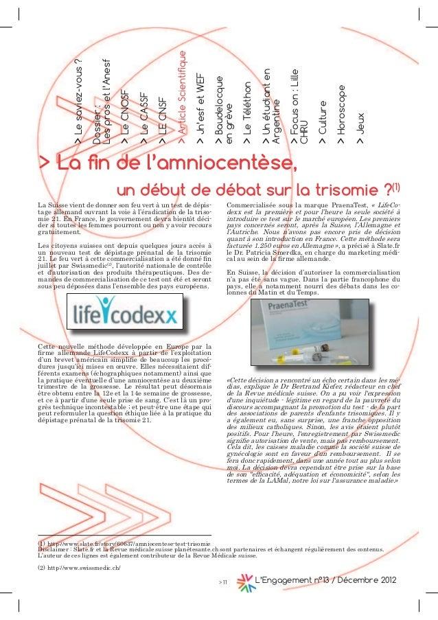 > Le saviez-vous ?  Dossier :  Les pros et l'Anesf  > /D ëQ GH OÎDPQLRFHQW¨VH  un début de débat sur la trisomie ?(1)  > 1...