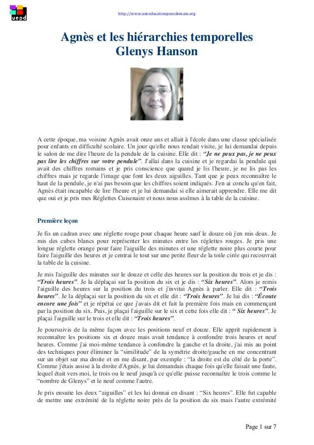 http://www.uneeducationpourdemain.org        Page 1 sur 7   Agnès et les hiérarchies temporelles Glenys Hanson A c...