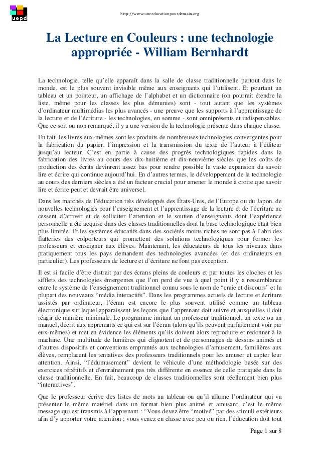http://www.uneeducationpourdemain.org      Page 1 sur 8   La Lecture en Couleurs : une technologie appropriée - Will...