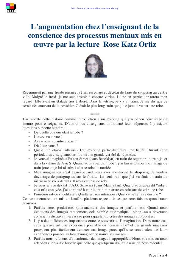 http://www.uneeducationpourdemain.org        Page 1 sur 4   L'augmentation chez l'enseignant de la conscience des ...