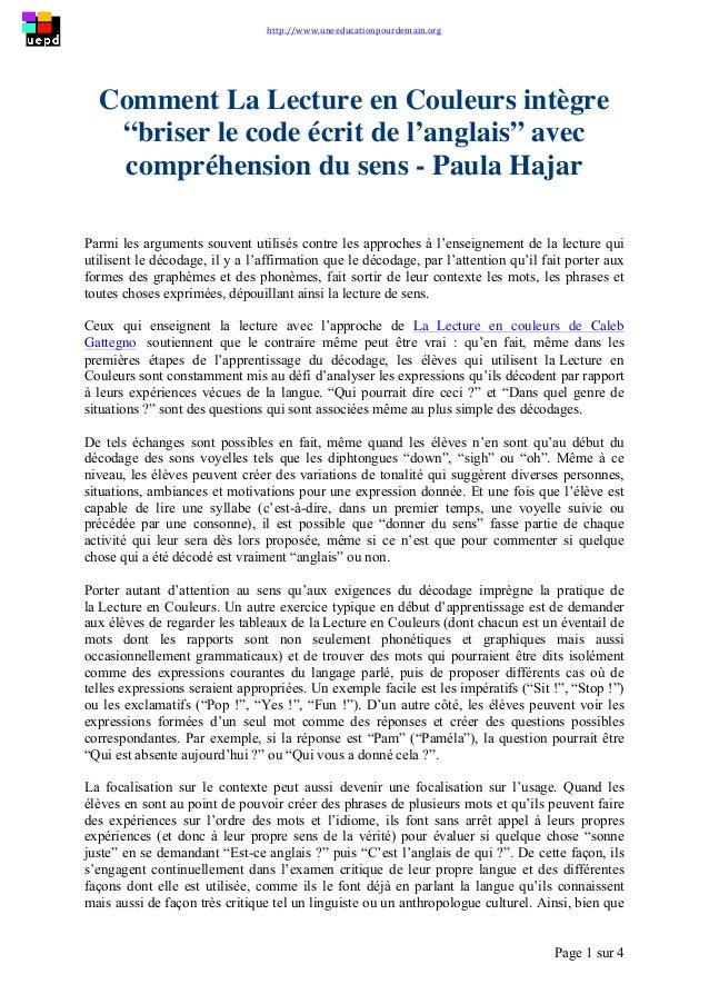"""http://www.uneeducationpourdemain.org        Page 1 sur 4   Comment La Lecture en Couleurs intègre """"briser le code..."""