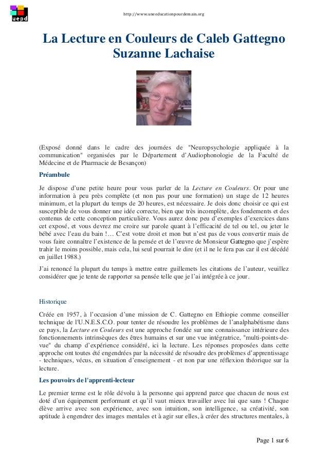 http://www.uneeducationpourdemain.org      Page 1 sur 6   La Lecture en Couleurs de Caleb Gattegno Suzanne Lachaise ...