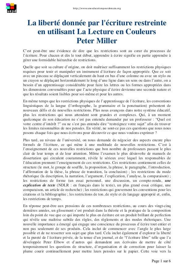 http://www.uneeducationpourdemain.org      Page 1 sur 6   La liberté donnée par l'écriture restreinte en utilisant L...