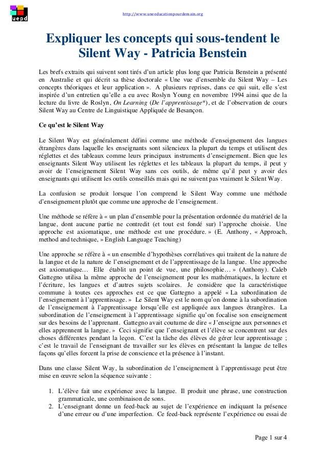 http://www.uneeducationpourdemain.org        Page 1 sur 4   Expliquer les concepts qui sous-tendent le Silent Way ...