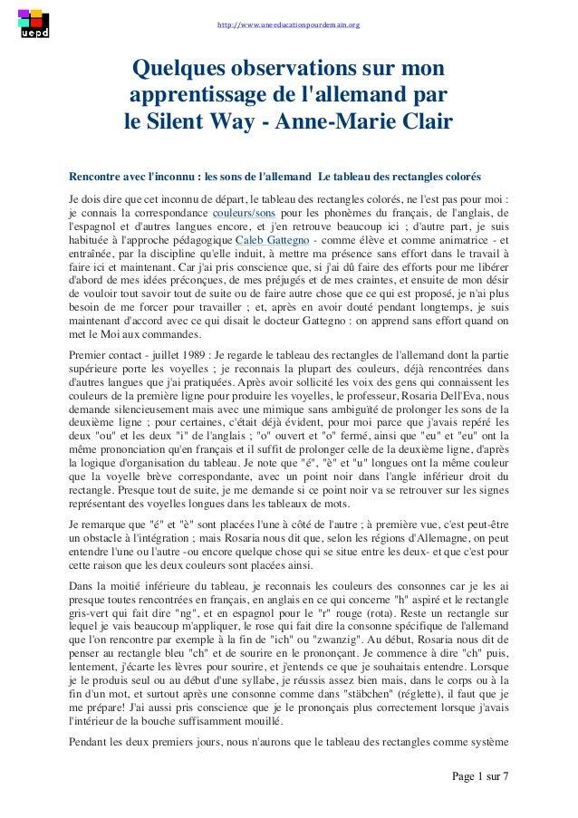 http://www.uneeducationpourdemain.org        Page 1 sur 7   Quelques observations sur mon apprentissage de l'allem...