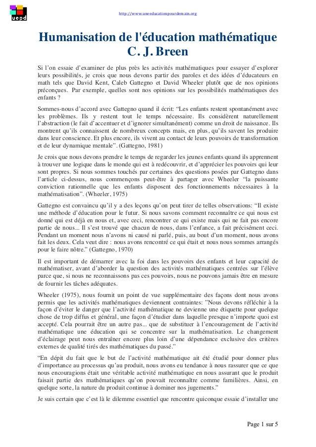 http://www.uneeducationpourdemain.org        Page 1 sur 5   Humanisation de l'éducation mathématique C. J. Breen S...