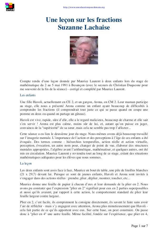 http://www.uneeducationpourdemain.org        Page 1 sur 7   Une leçon sur les fractions Suzanne Lachaise Compte re...
