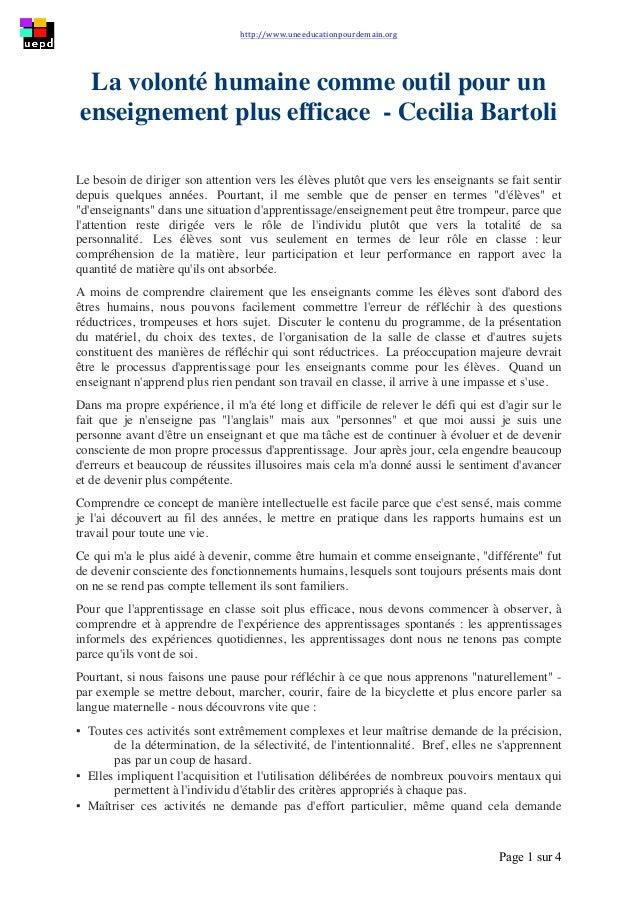 http://www.uneeducationpourdemain.org        Page 1 sur 4   La volonté humaine comme outil pour un enseignement pl...