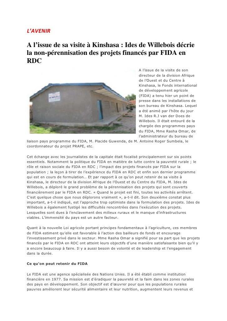 L'AVENIRA l'issue de sa visite à Kinshasa : Ides de Willebois décriela non-pérennisation des projets financés par FIDA enR...