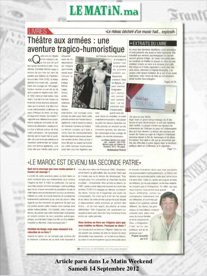 Article paru dans Le Matin Weekend     Samedi 14 Septembre 2012