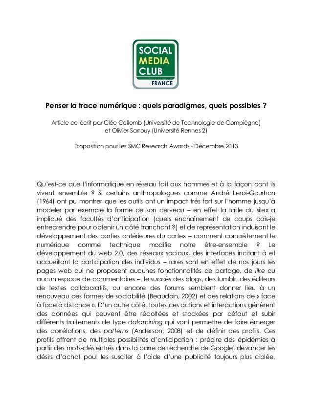 Penser la trace numérique : quels paradigmes, quels possibles ? Article co-écrit par Cléo Collomb (Université de Technolog...