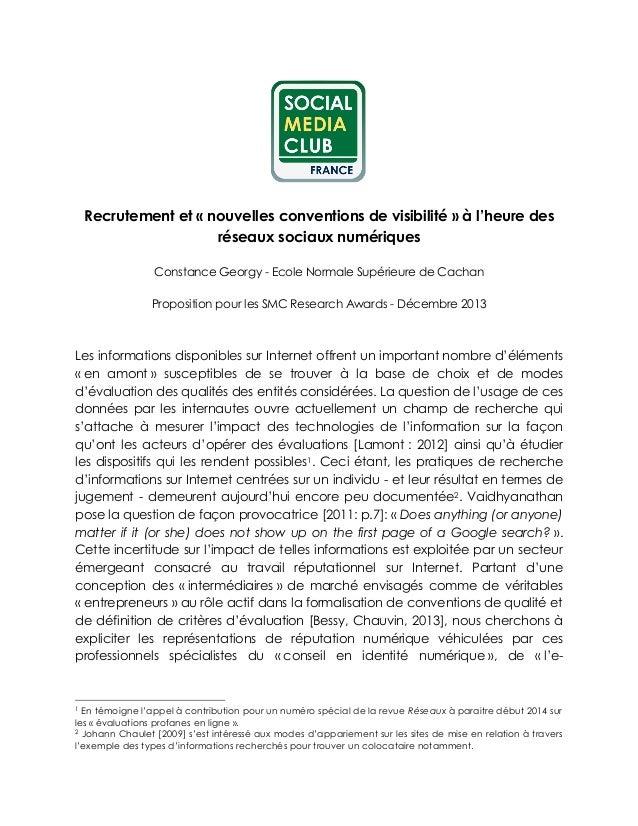 Recrutement et « nouvelles conventions de visibilité » à l'heure des réseaux sociaux numériques Constance Georgy - Ecole N...