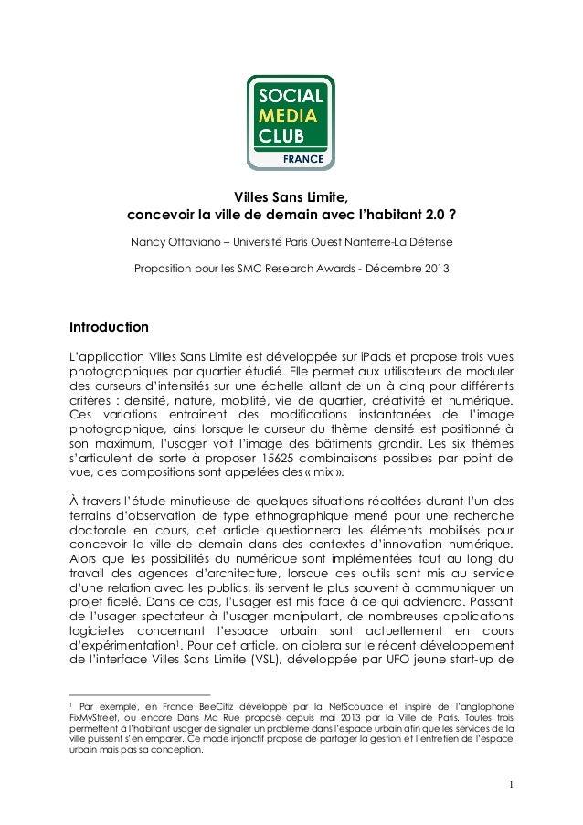 1 Villes Sans Limite, concevoir la ville de demain avec l'habitant 2.0 ? Nancy Ottaviano – Université Paris Ouest Nanterre...