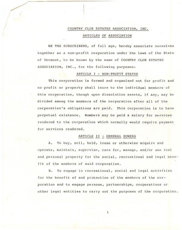 COUNTRY    CLUB ESTATES       ASSOCIATION,       INC.                                ARTICLES-OF      ASSOCIATION        W...