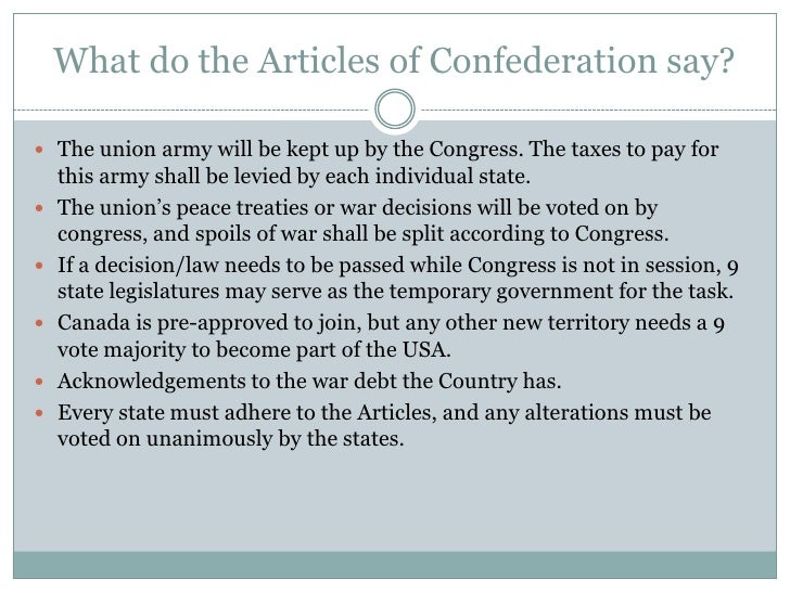 An interpretation of the articles of confederation