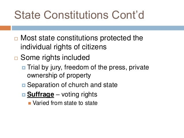 state constitutions and articles of confederation