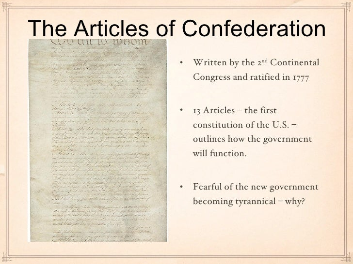 The articles of confederation was an